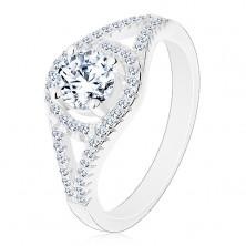 Inel de logodnă strălucitor, argint 925, brațe despicate, cerc cu zirconiu