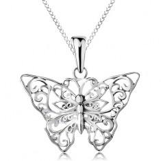 Colier din argint 925, fluture cu ornamente decupate, lanț