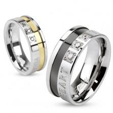 Inel realizat din oțel chirurgical, culoare argintie și aurie, inscripția de dragoste, zirconii, 6 mm