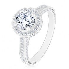 Inel din argint 925, zirconiu rotund lucios și transparent în cerc strălucitor