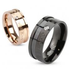 Inel realizat din oțel chirurgical în culoarea cuprului, inscripții și zirconiu rotund, transparent, 6 mm