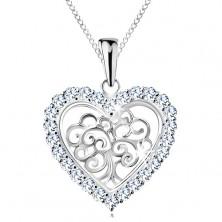 Colier ajustabil, argint 925, copacul vieții în inimă, zirconii transparente