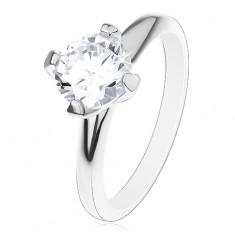 Inel de logodnă din argint 925, zirconiu rotund, proeminent, transparent