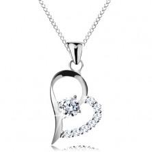 Colier din argint 925, zirconiu transparent în contur de inimă asimetrică, lanț