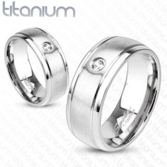 Inel mat tip bandă din titan de culoare argintie, crestături subțiri și zirconiu transparent, 6 mm