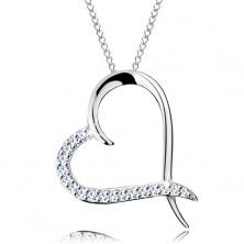 Colier realizat din argint 925, lanț și contur de inimă cu jumătate din zirconiu