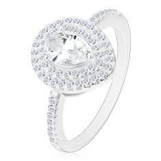 Inel de logodnă argint 925, lacrimă șlefuită transparentă în contur dublu