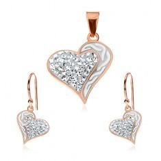 Set din argint 925 - cercei și pandantiv de culoare arămie, inimă cu ondulații și zirconii