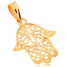 Pandantiv din aur 585 - mâna Fatimei decupată decorativ, suprafață lucioasă
