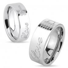 Inel lucios din oțel de culoare argintie, inscripția Love și lacăt închis, 8 mm