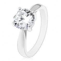 Inel de logodnă din argint 925, brațe lucioase rotunjite, zirconiu mare transparent