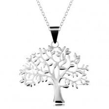 Colier din argint 925, lanț și pandantiv - copacul vieții ramificat, mare