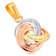 Pandantiv realizat din aur de 14K - cercuri tricolore unite, cu gravuri