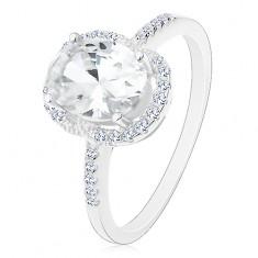 Inel din argint 925 - de logodnă, zirconiu mare oval, transparent, în montură, margine transparentă