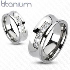 Inel din titan de culoare argintie, centru concav cu linie de zirconii transparente, 8 mm