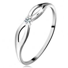 Inel realizat din aur alb de 14K cu diamant transparent strălucitor, braţe lucioase cu decupaje