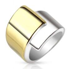 Inel din oțel, brațe late suprapuse de culoare aurie și argintie