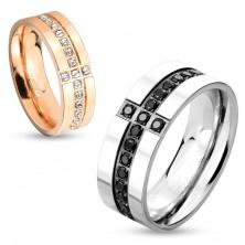 Inel tip bandă realizat din oțel chirurgical de culoare argintie, linii decorative de zirconii negre, 8 mm