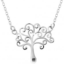 Colier din argint 925, lanț subțire și pandantiv - copacul vieții lucios