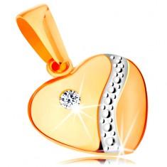 Pandantiv din aur de 14K - inimă simetrică proeminentă cu zirconiu și val de aur alb