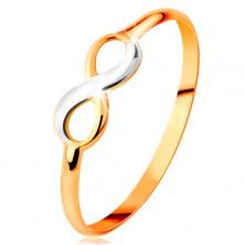 Inel din aur 585 - simbolul infinitului bicolor, lucios, brațe netede înguste