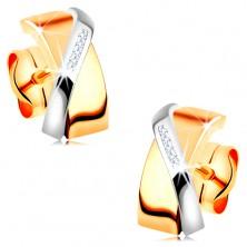 Cercei bicolori realizați din aur de 14K - arcade suprapuse, zirconii transparente