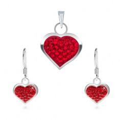 Set argint 925 - cercei și pandantiv, inimă zirconiu roșu
