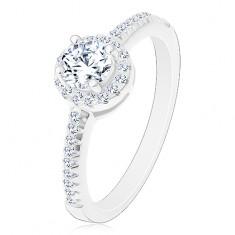 Inel de logodnă - argint 925, zirconiu rotund strălucitor, transparent în cerc strălucitor