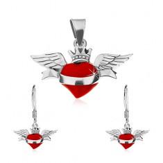 Set cercei și pandantiv din argint 925, inimă roșie înaripată, panglică, coroană
