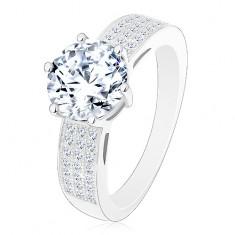Inel realizat din argint 925 - de logodnă, brațe mai late din zirconiu, zirconiu mare rotund