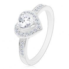 Inel de logodnă din argint 925 - inimă transparentă, contur și brațe strălucitoare