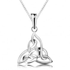 Colier din argint 925, nod Celtic în trei puncte, lanț din zale eliptice