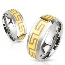 Inel bicolor tip bandă din oțel, bandă de culoare aurie pe mijloc, simboluri Grecești, 6 mm