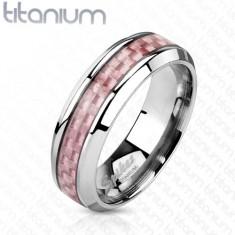 Verighetă argintie din titan, bandă roz pe mijloc, 6 mm