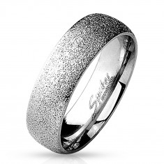 Inel-verighetă din oțel chirurgical cu suprafață sablată, culoare argintie, 6 mm