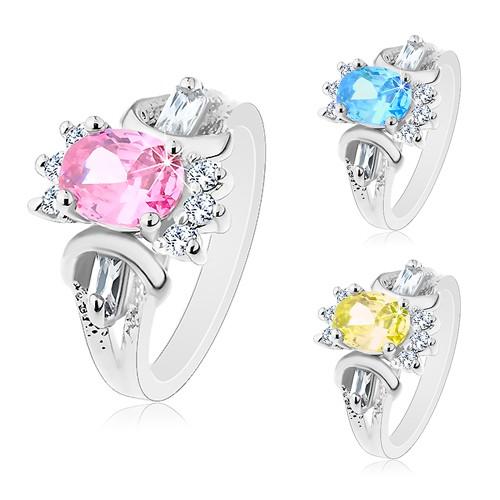 Bijuterii eshop - Inel argintiu, oval șlefuit colorat, zirconii rotunde și alungite transparente M06.01 - Marime inel: 51, Culoare: Albastru - Transparent
