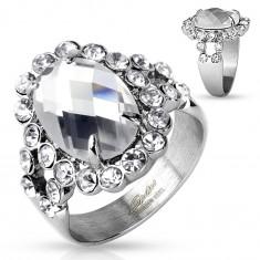 Inel masiv din oțel 316L, de culoare argintie, zirconiu mare transparent cu margine strălucitoare