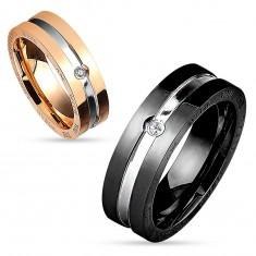Inel-bandă din oțel chirurgical, în culorile negru și argintiu, zirconiu rotund transparent, 8 mm