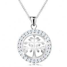 Colier din argint 925, pandantiv - copacul vieții lucios într-un cerc strălucitor