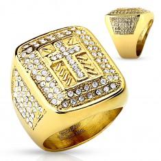 Inel masiv auriu, din oțel 316L, zirconii transparente, cruce latină, crestături