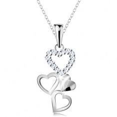Colier din argint 925, pandantiv - patru inimi unite, zirconii transparente