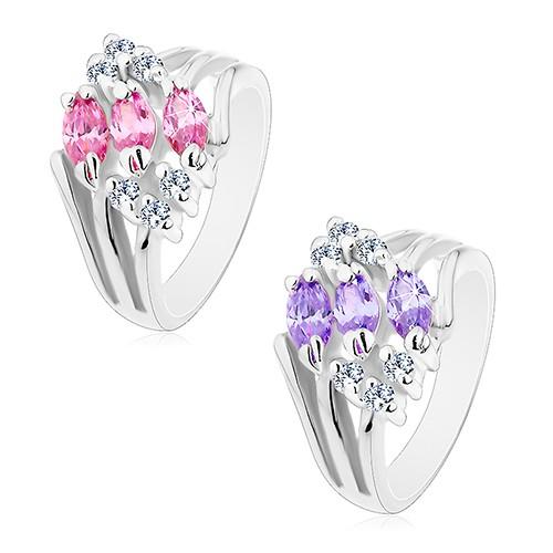 Bijuterii eshop - Inel cu braţe despicate, decorat cu zirconii transparente şi bobiţe colorate M06.25 - Marime inel: 52, Culoare: Mov Deschis