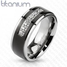 Inel argintiu din titan, dungă neagră, margini lucioase, linie din zirconii transparente