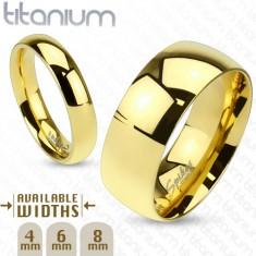 Verighetă aurie din titan, fină, rotunjită, 8 mm