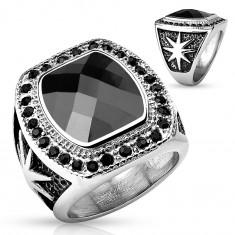 Inel masiv din oțel, de culoare argintie, piatră mare neagră și zirconii rotunde