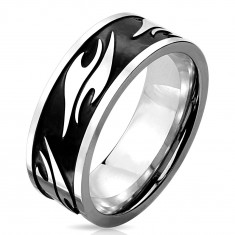 Inel argintiu din oțel chirurgical, bandă neagră decorată cu motive tribale