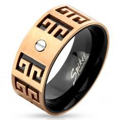 Inel oțel - combinație de culori negru-arămiu, simboluri gravate, șurub mic, 9 mm