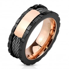 Inel oțel - trei culori, dreptunghi lucios, crestături pe margini, trei funii, 8 mm
