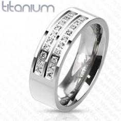 Inel realizat din titan de culoare argintie cu o linie din zirconii transparente, 7 mm