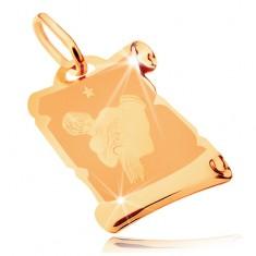Pandantiv aur 14K - pergament antic cu semnul zodiacal Vărsător